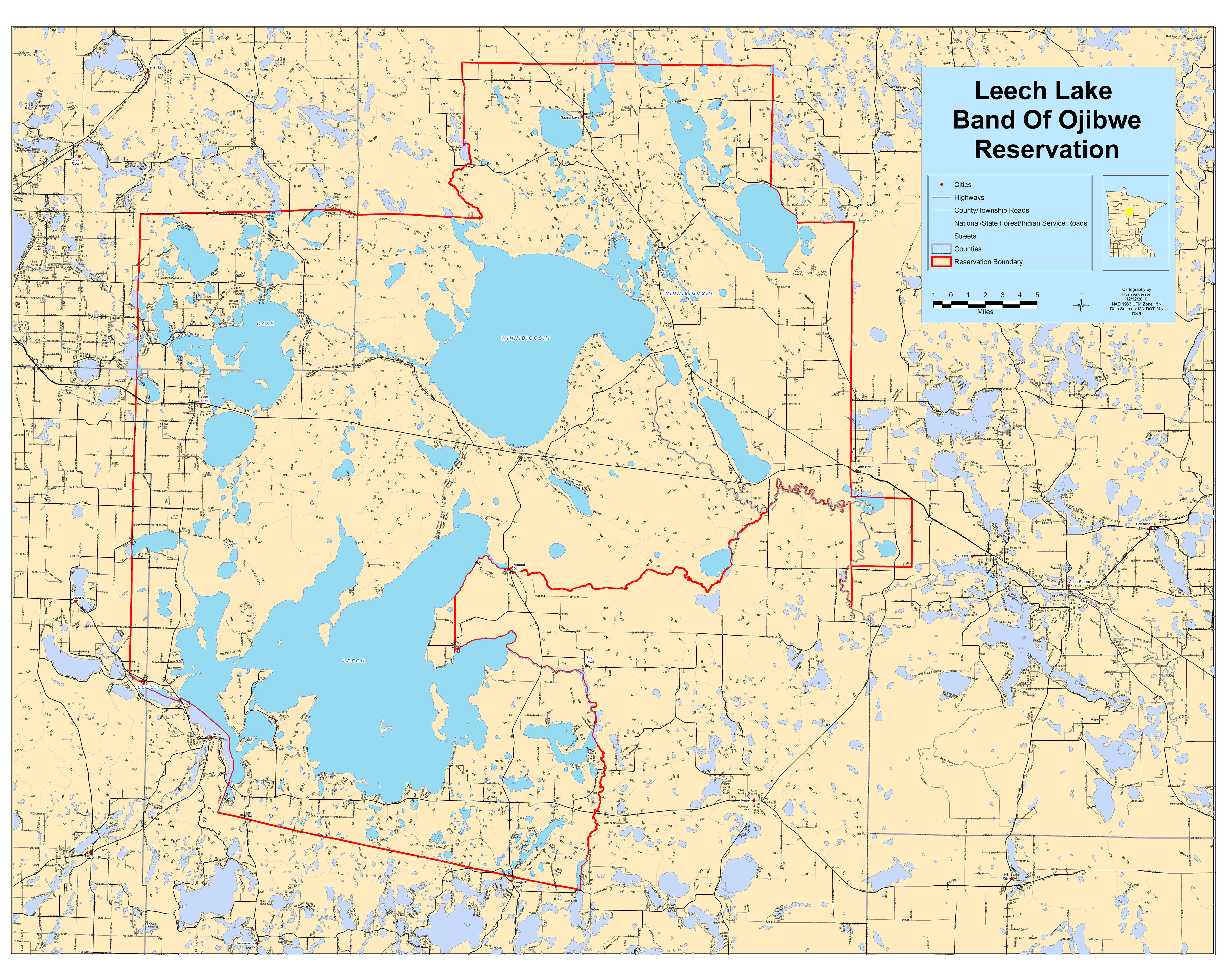Maps leech lake roads map large web view sciox Image collections